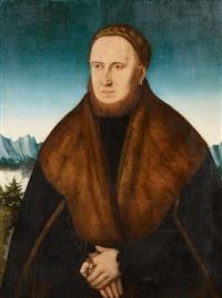 bildnis eines bärtigen mannes mit kappe und pelzverbrämten mantel. halbfigur by conrad (von creuznach) faber