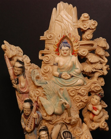 intricately carved painted chinese ivory tusk