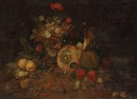 nature morte avec corbeille de fleurs, potiron, poires, tomates, melon, maïs et piments by martin van dorne