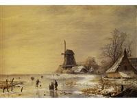 niederländische winterlandschaft mit vereistem poldersee, windmühle und verschneiten häusern by albert eduard moerman