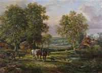 a pastoral scene with cart horses by a pond by edwin young