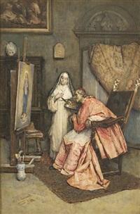 interno con monaca pittrice e cardinale by publio de tommasi