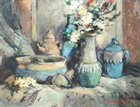 a still life with spring flowers by eben van der merwe
