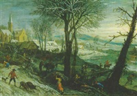 dorf an einem fluß im winter mit bauern und einem reiter by pieter dircksz van santvoort