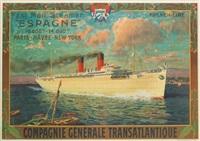 espagne/french line/compagnie générale transatlantique by eugène d' argence