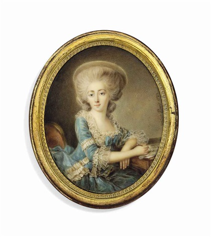 a lady called madame de montesson 1738 1806 seated at a desk on upholstered red chair in blue dress with frilly white lace border and cuffs wearing a hat her left arm leaning on the desk by antoine vestier