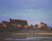 vista de pueblo con muralla by joaquín vaquero palacios