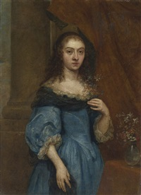 portrait of a lady, three-quarter length, in a blue dress by flemish school (17)