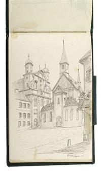 drei skizzenbücher mit überaus zahlreichen aquarellen sowie bleistift- und federzeichnungen, teils mit handschriftlichen reisenotizen. überwiegend ansichten aus württemberg by carl heess