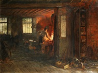the blacksmith's forge by george ogilvy reid