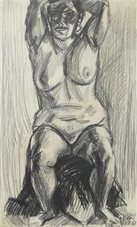 sitzender weiblicher akt mit hinter dem kopf verschränkten armen by curt querner