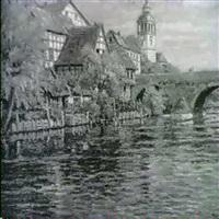 stadtchen am fluss mit fachwerkhausern, kirche und     steinerner bogenbrucke by wilhelm freund
