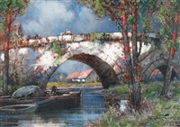 old bridge by frederick john bartram hiles