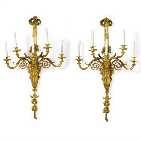louis xvi style five light wall appliques pair by pierre philippe thomire
