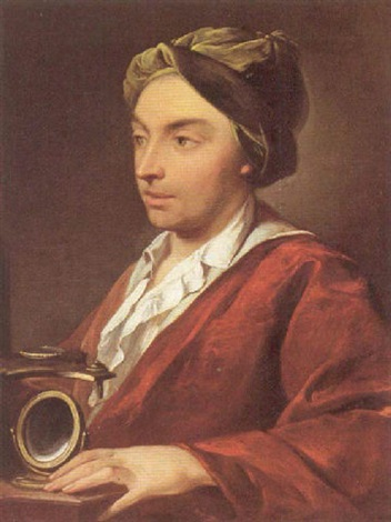 portrait of a gentleman holding a microscope by domenico corvi