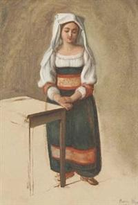 neben einem tisch stehende junge römerin by friedrich müller