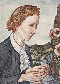 mädchenporträt vor weiter felsiger landschaft, eine malve betrachtend by julius hüther