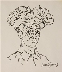 self-portrait in flowered hat by karl schrag