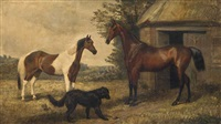 two bay hunters and a dog outside a stable by jacques-laurent agasse