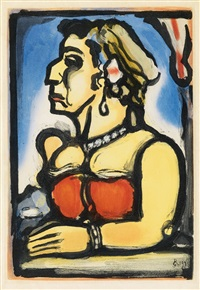 madame carmencita (+ sainte pute, aquatint, 1936) (from cirque de l'étoile filante) by georges rouault