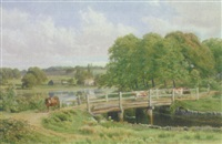 cattle on a timber bridge by william james ferguson