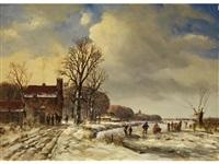 verschneite holländische landschaft mit vereistem fluss und figurenstaffage by arnoldus johannes eymer