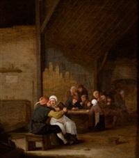 interior de taberna con campesinos by bartholomeus molenaer