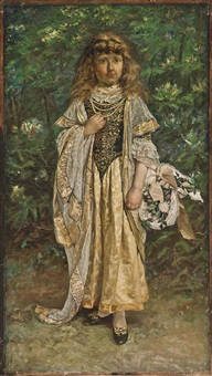 portrait of moya hennessey, the artist's daughter, aged about 10, standing full length, in an elaborate costume and carrying a basket of flowers by william john hennessy