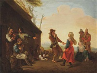 peasants playing music and dancing outside an inn by johannes lingelbach