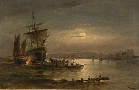 moonlit harbor scene with suspension bridge to the rear by henry earp