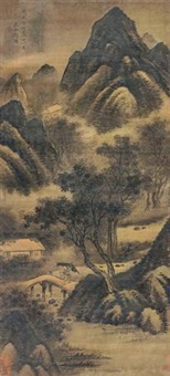 烟雨归舍图 (landscape) by dai jin