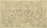 die erschlagenen helden werden aus dem saal getragen (design for fresco) by julius schnorr von carolsfeld