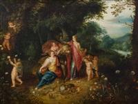 waldlandschaft mit der allegorie der abundantia -allegorie auf die reichhaltigkeit der erde by frans francken the younger
