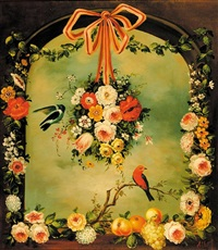 pair of works: flowers in archways with birds by jeannine albert