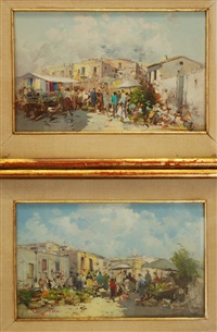 scene di mercato (pair) by giuseppe pesa