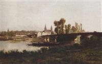 a river landscape by godefroy de hagemann