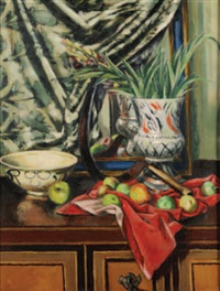 still life with apples, scythe, red cloth and vase by quentin bell
