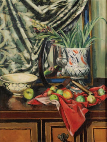 still life with apples scythe red cloth and vase by quentin bell