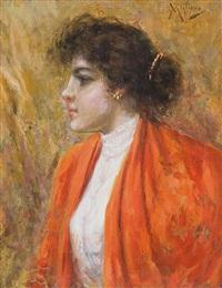 ragazza con scialle arancio by vincenzo migliaro