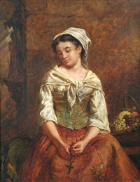 a young fruit seller holding a rosary by edwin thomas roberts