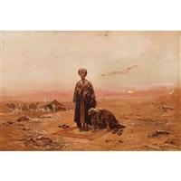 beduinen beim abendlichen gebet by tadeusz ajdukiewicz