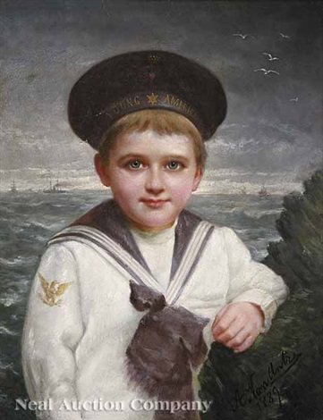 portrait of a young boy in a sailor suit by a van antra