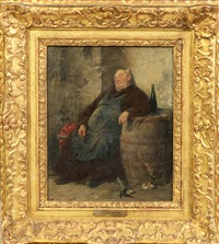 seated monk with barrel and glass of wine by adolf humborg