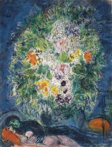 les amoureux au bouquet by marc chagall