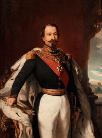 napoleon iii 1808 1873 in uniform mit hermelinmantel an einem tisch mit krone und zepter im hintergrund das louvre schloss by franz xaver winterhalter