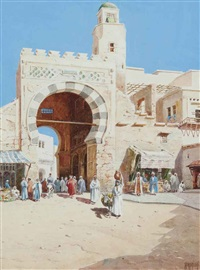 arabs at the entrance to a walled city by vittorio rappini