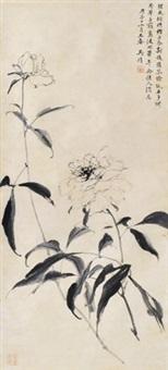 牡丹 立轴 水墨纸本 by wu hufan