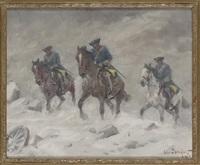 ridande karoliner i snöstorm by alexander langlet