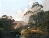 travelers and horse on a wooded path by a river by john rathbone