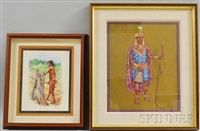 portrait of incan governor tupac yupanqui and study of a taino woman chopping yucca (2 works) by hubert wackermann
